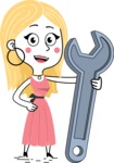 Flat Hand Drawn Girl Cartoon Vector Character AKA Maura - Repair