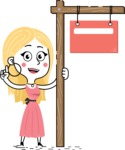 Flat Hand Drawn Girl Cartoon Vector Character AKA Maura - Sign 9