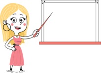 Flat Hand Drawn Girl Cartoon Vector Character AKA Maura - Presentation 3