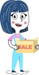 Hand Drawn Illustration of Vector Female Character AKA Greta - Sale