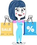 Hand Drawn Illustration of Vector Female Character AKA Greta - Sale2