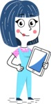 Hand Drawn Illustration of Vector Female Character AKA Greta - iPad3