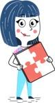 Hand Drawn Illustration of Vector Female Character AKA Greta - Puzzle