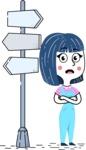 Hand Drawn Illustration of Vector Female Character AKA Greta - Crossroad