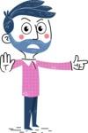 Flat Hand Drawn Man Cartoon Vector Character AKA Jonathan - Direct Attention