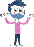 Flat Hand Drawn Man Cartoon Vector Character AKA Jonathan - Sad