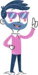 Flat Hand Drawn Man Cartoon Vector Character AKA Jonathan - Sunglasses