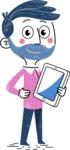Flat Hand Drawn Man Cartoon Vector Character AKA Jonathan - iPad3