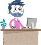 Flat Hand Drawn Man Cartoon Vector Character AKA Jonathan - Laptop 1