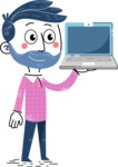 Flat Hand Drawn Man Cartoon Vector Character AKA Jonathan - Laptop 2