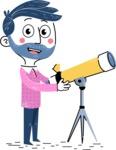 Flat Hand Drawn Man Cartoon Vector Character AKA Jonathan - Telescope