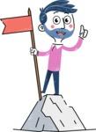 Flat Hand Drawn Man Cartoon Vector Character AKA Jonathan - On Top