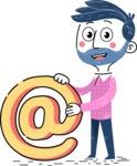 Flat Hand Drawn Man Cartoon Vector Character AKA Jonathan - Email