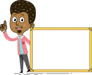 Flat Hand Drawn African American Man Cartoon Vector Character AKA Christopher - Presentation 5