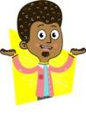 Flat Hand Drawn African American Man Cartoon Vector Character AKA Christopher - Shape 2