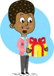 Flat Hand Drawn African American Man Cartoon Vector Character AKA Christopher - Shape 3