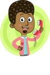 Flat Hand Drawn African American Man Cartoon Vector Character AKA Christopher - Shape 4