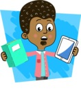 Flat Hand Drawn African American Man Cartoon Vector Character AKA Christopher - Shape 5