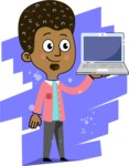 Flat Hand Drawn African American Man Cartoon Vector Character AKA Christopher - Shape 6