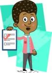 Flat Hand Drawn African American Man Cartoon Vector Character AKA Christopher - Shape 7