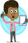 Flat Hand Drawn African American Man Cartoon Vector Character AKA Christopher - Shape 9