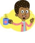 Flat Hand Drawn African American Man Cartoon Vector Character AKA Christopher - Shape 10
