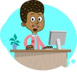 Flat Hand Drawn African American Man Cartoon Vector Character AKA Christopher - Shape 11