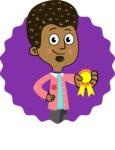 Flat Hand Drawn African American Man Cartoon Vector Character AKA Christopher - Shape 12