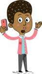 Flat Hand Drawn African American Man Cartoon Vector Character AKA Christopher - Duckface