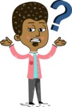 Flat Hand Drawn African American Man Cartoon Vector Character AKA Christopher - Confused