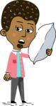 Flat Hand Drawn African American Man Cartoon Vector Character AKA Christopher - Bored 2