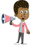 Flat Hand Drawn African American Man Cartoon Vector Character AKA Christopher - Loudspeaker