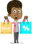 Flat Hand Drawn African American Man Cartoon Vector Character AKA Christopher - Sale2