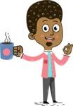 Flat Hand Drawn African American Man Cartoon Vector Character AKA Christopher - Coffee