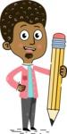 Flat Hand Drawn African American Man Cartoon Vector Character AKA Christopher - Pencil