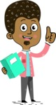 Flat Hand Drawn African American Man Cartoon Vector Character AKA Christopher - Book 3