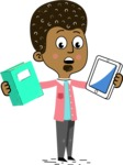 Flat Hand Drawn African American Man Cartoon Vector Character AKA Christopher - Book and iPad
