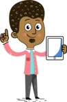 Flat Hand Drawn African American Man Cartoon Vector Character AKA Christopher - iPad 1