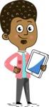 Flat Hand Drawn African American Man Cartoon Vector Character AKA Christopher - iPad3