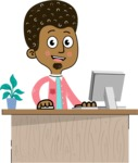 Flat Hand Drawn African American Man Cartoon Vector Character AKA Christopher - Laptop 1