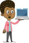 Flat Hand Drawn African American Man Cartoon Vector Character AKA Christopher - Laptop 2