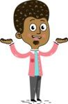 Flat Hand Drawn African American Man Cartoon Vector Character AKA Christopher - Showcase 2