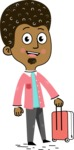 Flat Hand Drawn African American Man Cartoon Vector Character AKA Christopher - Travel 1