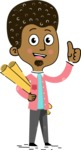 Flat Hand Drawn African American Man Cartoon Vector Character AKA Christopher - Plans