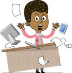 Flat Hand Drawn African American Man Cartoon Vector Character AKA Christopher - Office Fever