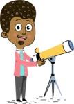 Flat Hand Drawn African American Man Cartoon Vector Character AKA Christopher - Telescope