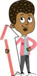 Flat Hand Drawn African American Man Cartoon Vector Character AKA Christopher - Pointer 1
