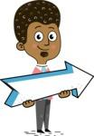 Flat Hand Drawn African American Man Cartoon Vector Character AKA Christopher - Pointer 2