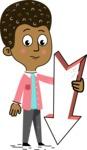 Flat Hand Drawn African American Man Cartoon Vector Character AKA Christopher - Pointer 3