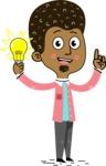 Flat Hand Drawn African American Man Cartoon Vector Character AKA Christopher - Idea 1
